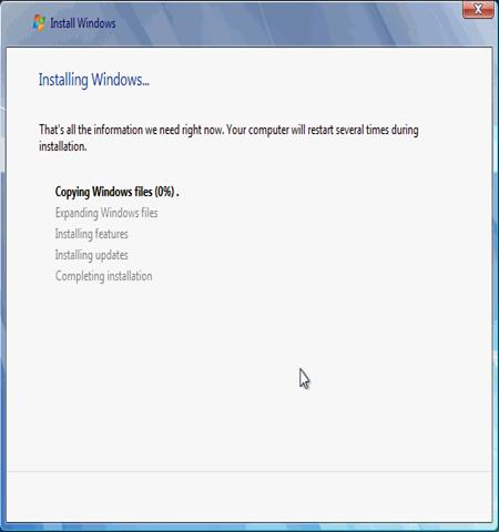 Quá trình cài đặt Windows bắt đầu